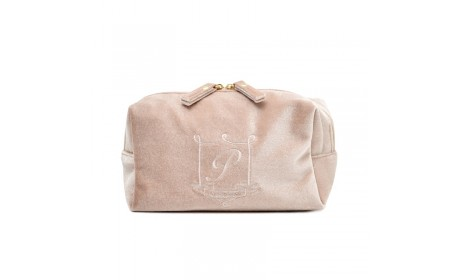 Wholesale Custom Makeup Pouch Travel Plain Folding Flannel Cosmetic Bag with embroidery logo