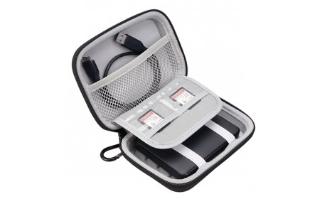 Portable Hard EVA Travel Case Bag for Battery Power Bank with a Carabiner