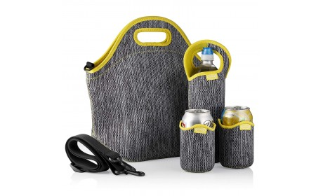 Insulated Neoprene Bottle Sleeve Lunch Tote Shoulder Bag Extra Large Travel Lunch Box Set