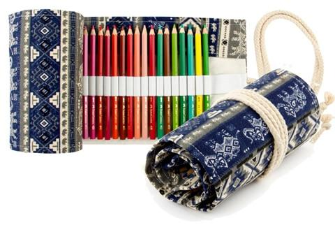 ​Canvas Pencil Roll up Wrap Multi Purpose Pencil Roll Bag Pens Case Organizer Color Pencil Holder Pouch