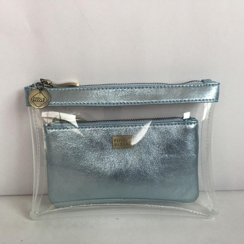 Hot sales pu metalic clear plastic TPU pvc see throught waterproof transparent cosmetic bag set
