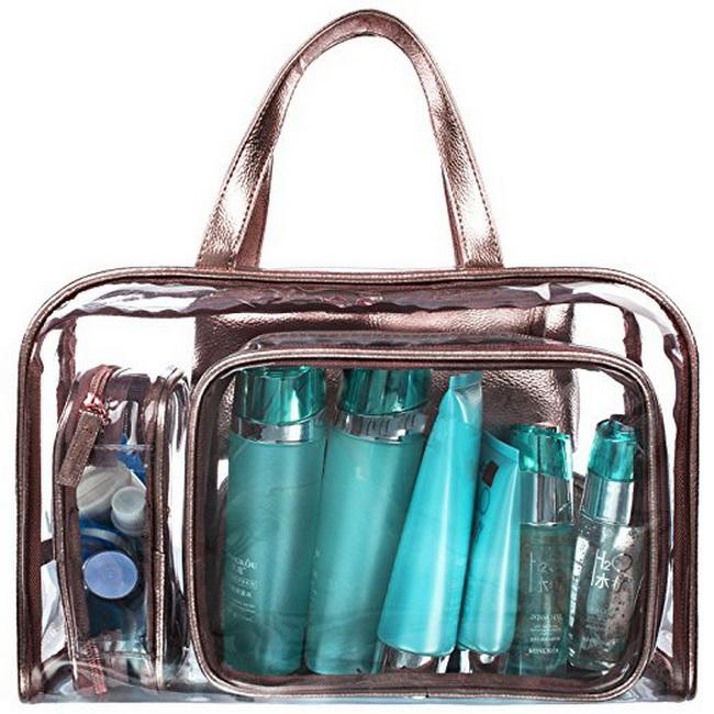 NiceEbag 5 in 1 Cosmetic Bag & Case Portable Carry on Travel Toiletry Bag Clear PVC Makeup Quart Luggage Pouch Handbag Organizer