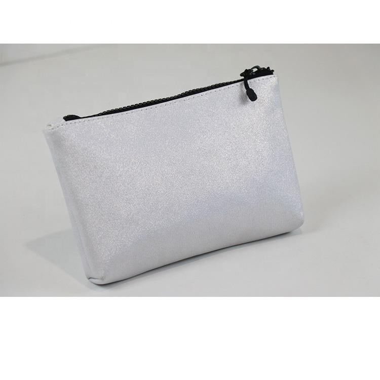 Custom PU leather toiletry organizer bag waterproof high capacity silver cosmetic travel makeup bag