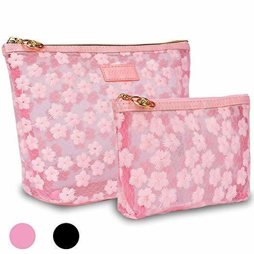 Travel Organizer Toiletry Makeup Bags, Pink Cute Mesh Cosmetic Bag