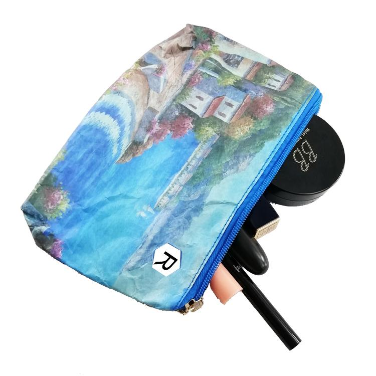 Tyvek Paper Zipper clear eco friendly makeup Bag cosmetic bag outdoor