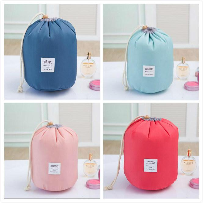 Outdoor Waterproof High-Capacity Cylindrical Makeup Cosmetic Bag