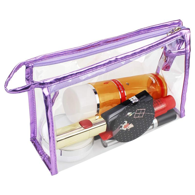 Waterproof Clear Transparent Vinyl PVC Zippered Cosmetic Makeup Bag For Travel