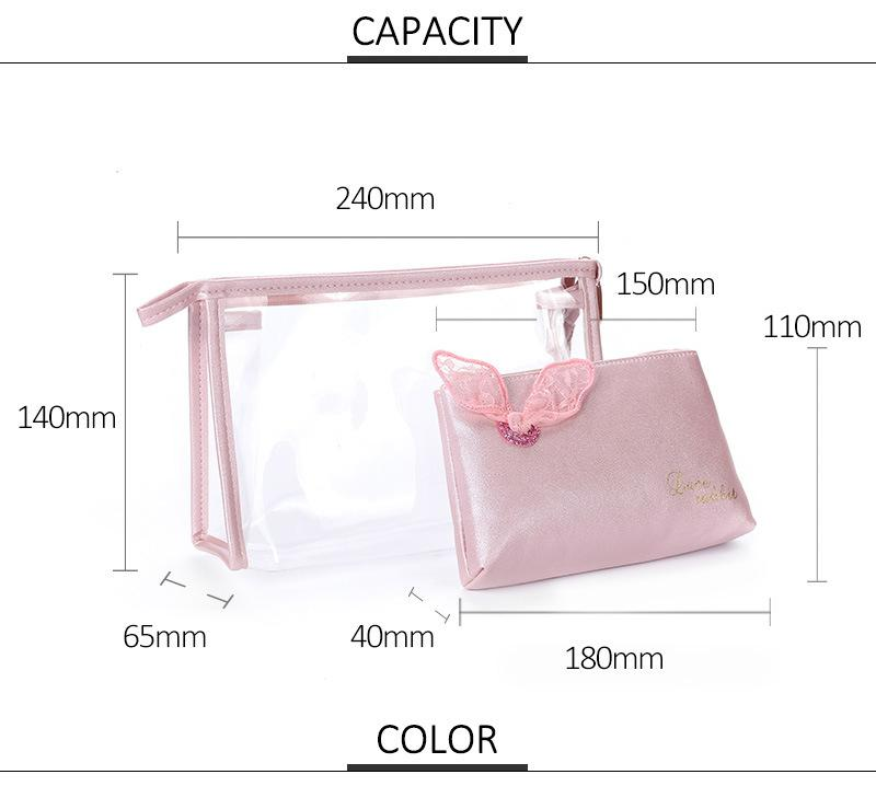 Eco Friendly New Design Blank Wholesale Portable Clear Women Washing Bag PVC Transparent Makeup Cosmetic Bag Custom for Lady