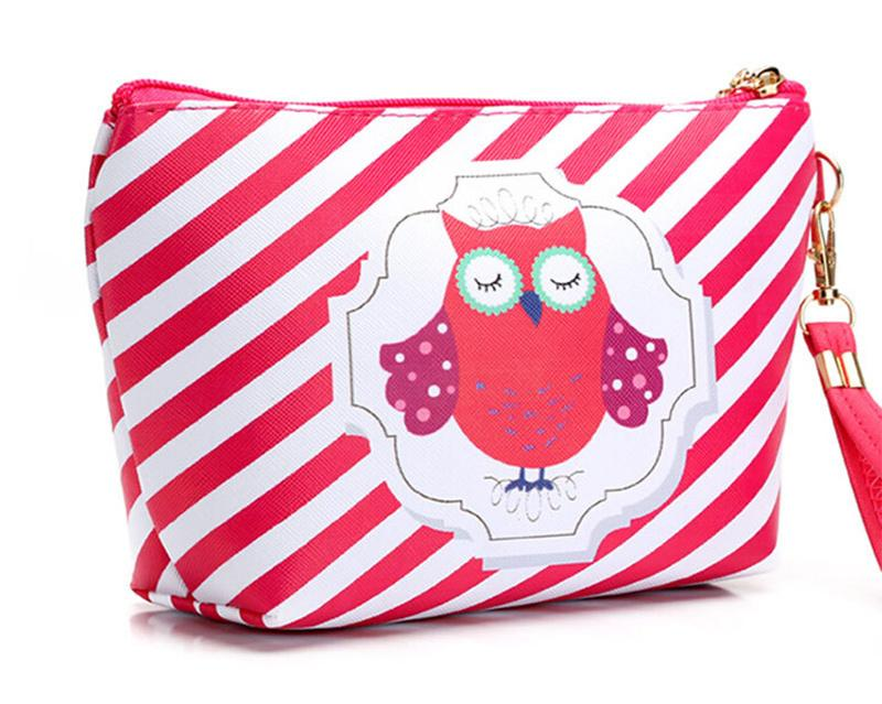 Fashion Cute Style Cosmetic Bag Leather and Fabric Bag for Lady