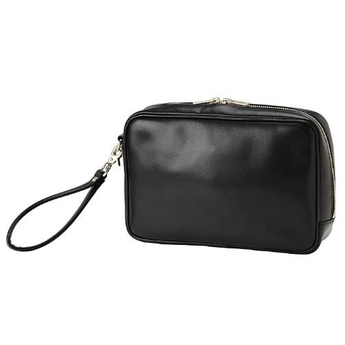 Men′s Simple PU Leather Cosmetic Bag with Large Capacity