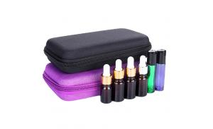 Makeup Bag10ML Bottles Essential Oil Glass Case Empty Carry Holder Cosmetic Bags Cases 2Colors