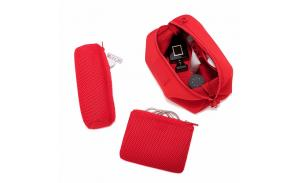 Custom sport neoprene toiletry bag cosmetic pouch with removable zipper pouch