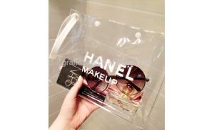 New Products PVC WaterProof Clear Cosmetic Bag Fashion Makeup Bag with White Ring Handle Washing Bag