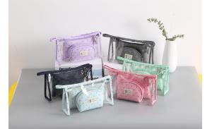2020 New Fashion Cosmetic Bags Waterproof Neceser Portable Make Up Bag 3pcs Set Clear PVC Pouch Travel Toiletry Bag