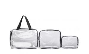 Fashionable candy-color clear tote cosmetic transparent zipper pvc bag