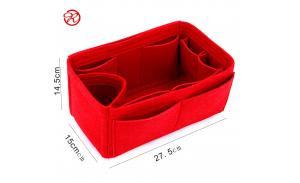 10 pockets Fashion Red felt cosmetic insert bag makeup case toiletry storage organizer bag in bag