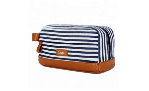 Hot sell Shaving Dopp Case Striped Canvas Cosmetic Makeup Bag with leather handle