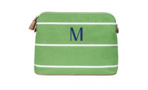 Personalized cotton canvas small stripe cosmetic bag wholesale