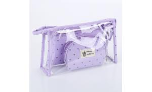 New arrival European fashion hot sell crown 3 pieces set transparent zipper clear pvc cosmetic bags