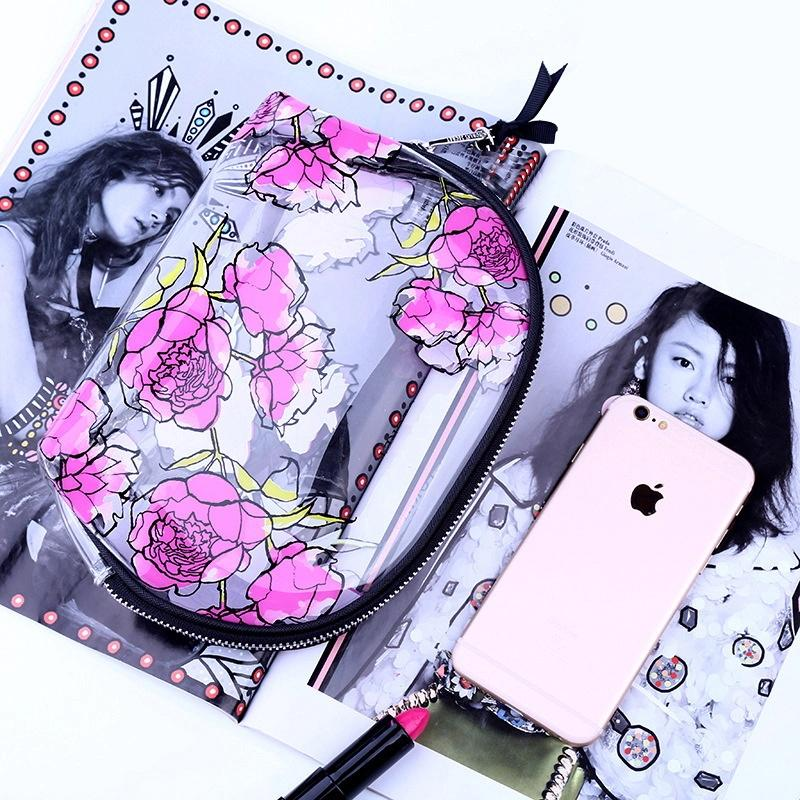 New cosmetic bags, mini fashion flower print clear makeup bag, pvc clear travel cosmetic bag