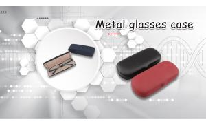 wholesale custom logo printed red folding eyeglasses case sunglasses metal leather eyeglasses case
