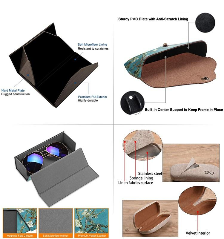 Wholesale Fashion Leather Folding Handmade Sports Sunglasses Case