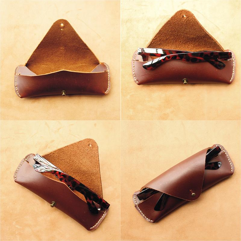 China factory direct wholesale best selling hand made folding leather sunglasses case