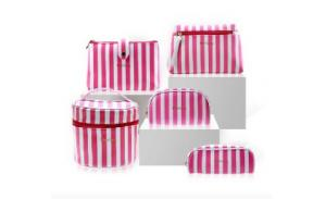 Pu Leather Cosmetic bags wholesale cosmetic bag set organizer Pink stripe printed custom cosmetic bag