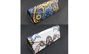 wholesale eyeglasses case hard folding triangle eye glasses case with magnet