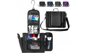 Black Water Resistant Nylon Toiletry bag Expandable Travel Cosmetic bag for different trips or for each family member.