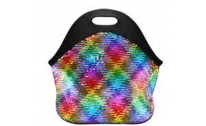 Multi-color Rainbow Sliver Reversible Sequins Neoprene Insulated Lunch Tote Bags
